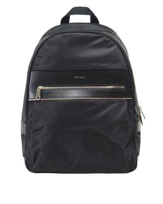 Paul Smith - Black Artist Webbing Leather Trimmed Nylon Backpack for Men - Lyst