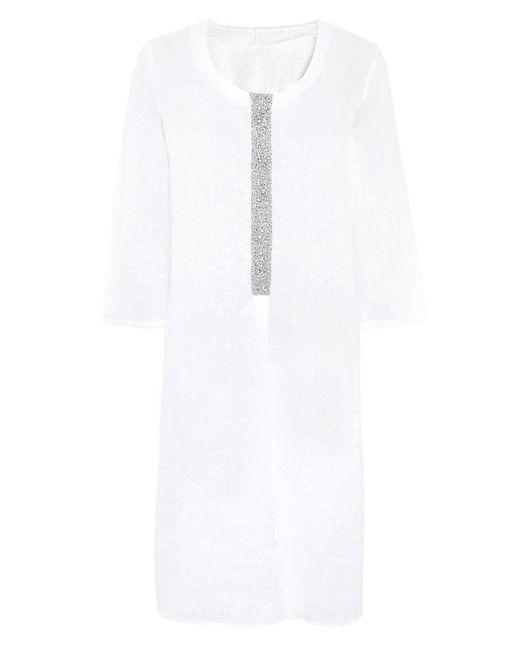 120% Lino - White Linen Tunic Dress - Lyst