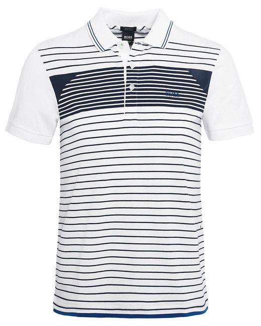 BOSS - White Regular Fit Striped Paddy 5 Polo Shirt for Men - Lyst