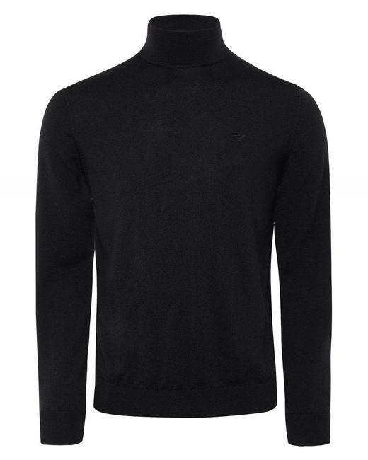 Virgin Wool Roll Neck Jumper Armani pour homme en coloris Black