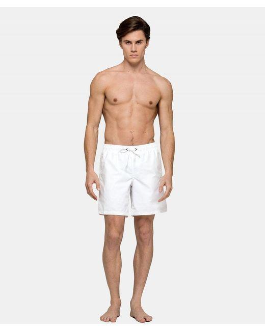 Sundek White Mid-length Swim Shorts for men