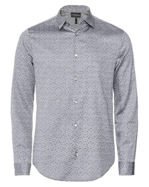 Slim Fit EA Print Shirt Armani pour homme en coloris Gray