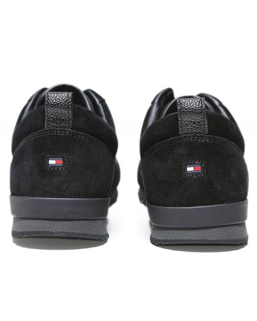 0a7be6715 ... Tommy Hilfiger - Black Iconic Lace-up Runner Trainers for Men - Lyst ...