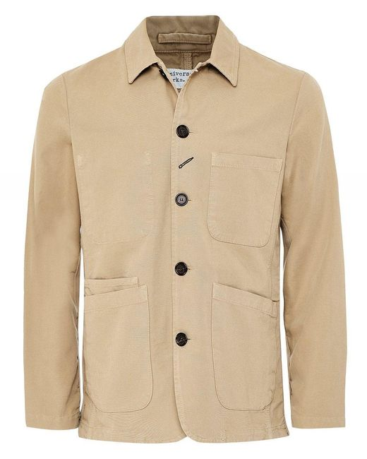 Universal Works Natural Cotton Canvas Bakers Jacket for men