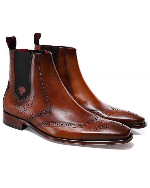 Jeffery West Brown Leather Scarface Chelsea Boots for men