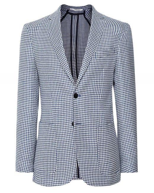 BOSS by Hugo Boss Blue Virgin Wool Linen Nolvay1 Jacket for men