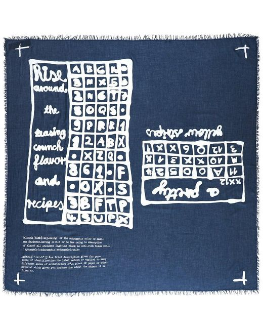 Wool Blend Printed Scarf Rundholz en coloris Blue