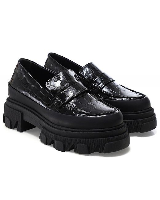 Ganni Black Belly Croc Chunky Loafers