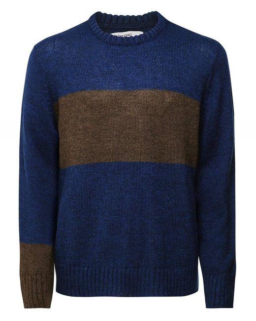 Universal Works Blue Mohair Blend Striped Jumper for men
