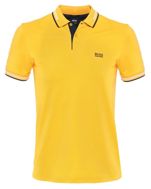 BOSS Green - Yellow Slim Fit Paul Polo Shirt for Men - Lyst