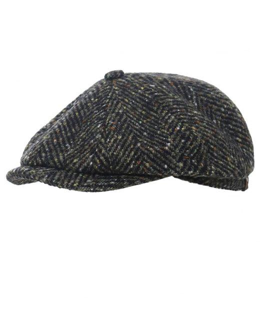 f71beaa3c99 Stetson - Black Virgin Wool Hatteras Herringbone Cap for Men - Lyst ...