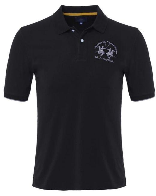La Martina Black Plain Polo Shirt for men