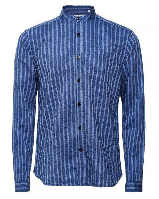 Oliver Spencer Blue Cotton Linen Striped Grandad Shirt for men