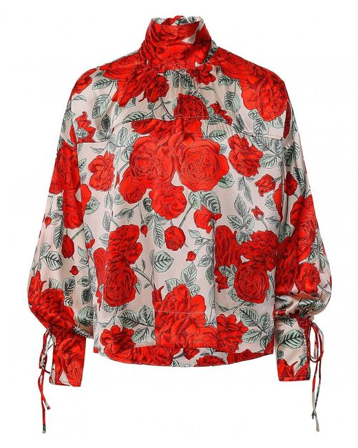 Ganni Red Silk Stretch Satin Oversized Blouse