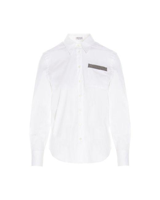 Camicia popeline stretch monile di Brunello Cucinelli in White