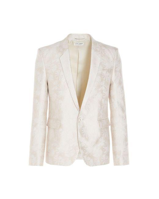 Blazer jacquard floreale di Saint Laurent in White da Uomo
