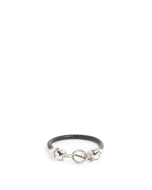 Alexander McQueen - Black Silver Skulls Bracelet for Men - Lyst