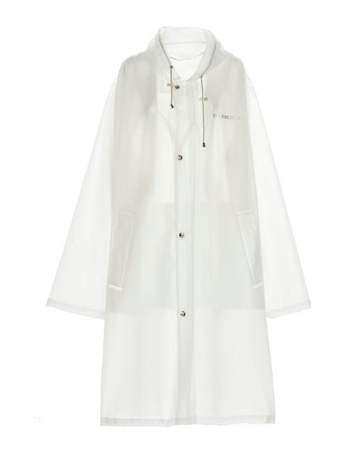 Vetements White Logo Pvc Trench Coat