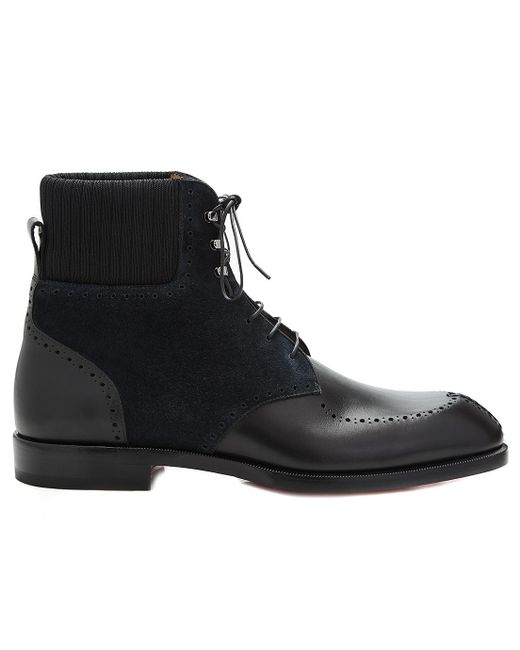 Christian Louboutin   Wolfgang Black Suede Ankle Boots   Lyst