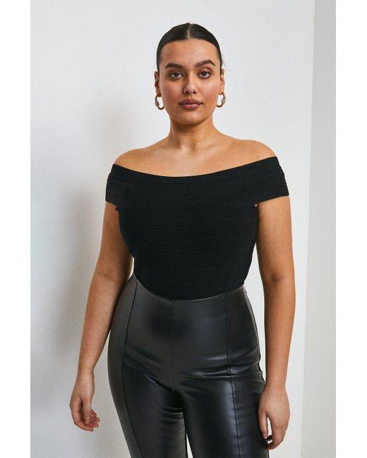 Karen Millen Black Curve Bandage Bardot Knitted Top