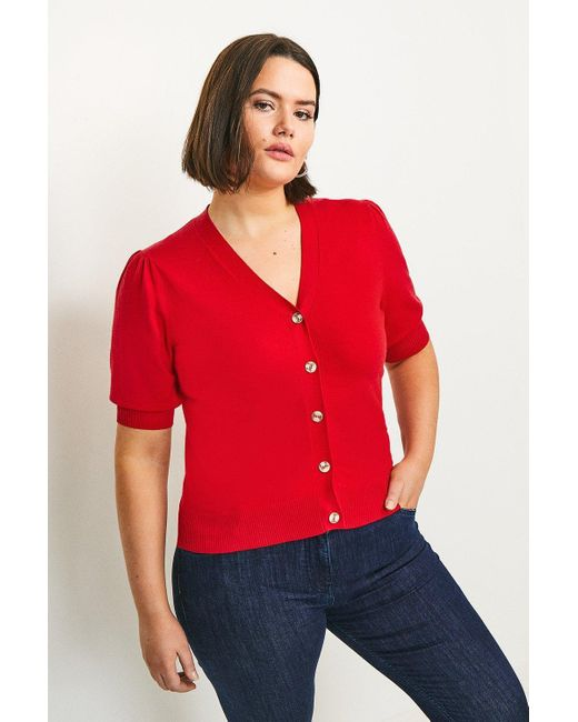 Karen Millen Red Curve Short Puff Sleeve Knitted Cardigan