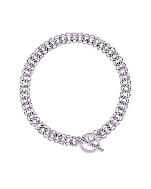 Karen Millen - Metallic Encrusted Bar & Hoop Necklace - Km - Lyst