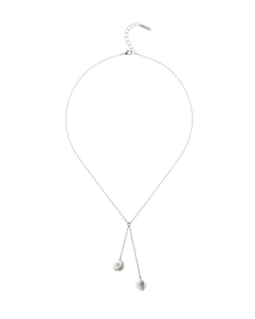 Karen Millen | Metallic Logo Pearl Drop Necklace | Lyst