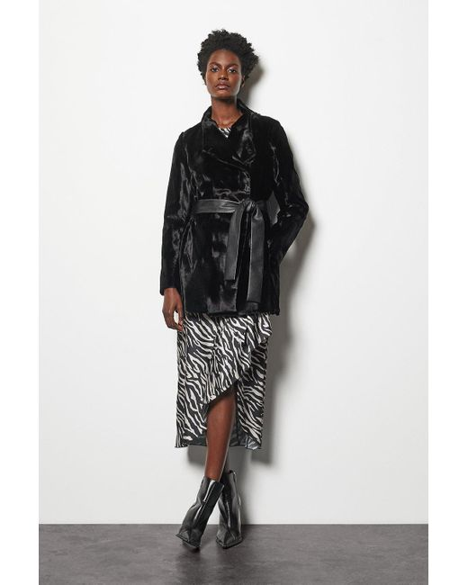 Karen Millen Faux-fur Coat Black