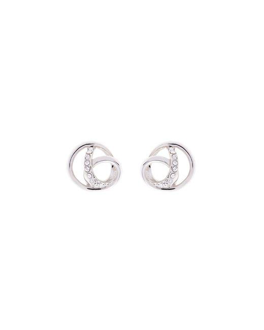 Karen Millen - Metallic Crystal Ribbon Earrings - Silver Colour - Lyst