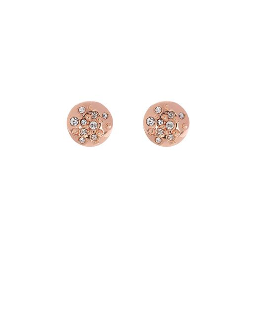 Karen Millen - Metallic Crystal Sprinkle Stud Earrings - Rose Gold Colour - Lyst