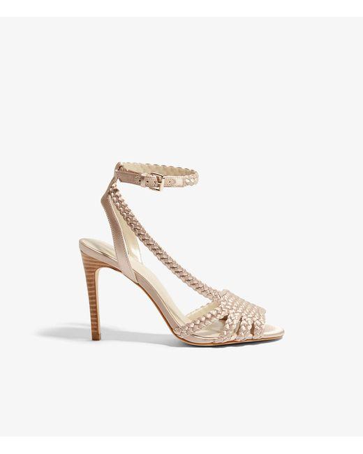 Karen Millen - Natural Woven Heeled Sandals - Lyst