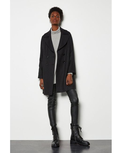 Karen Millen Twill Pod Coat Black