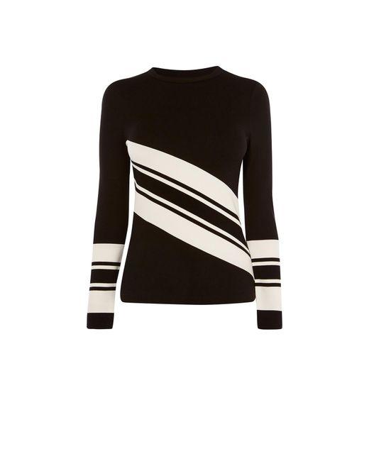 Karen Millen - Black Block Striped Top - Lyst