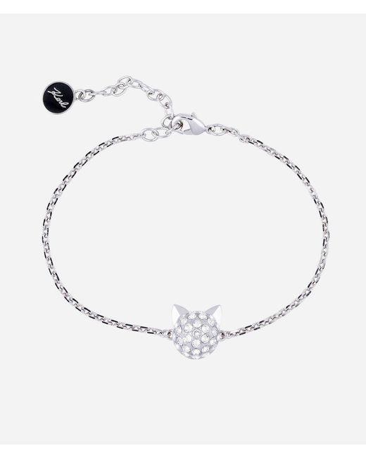 Karl Lagerfeld - Metallic Silver Choupette Pendant Bracelet - Lyst