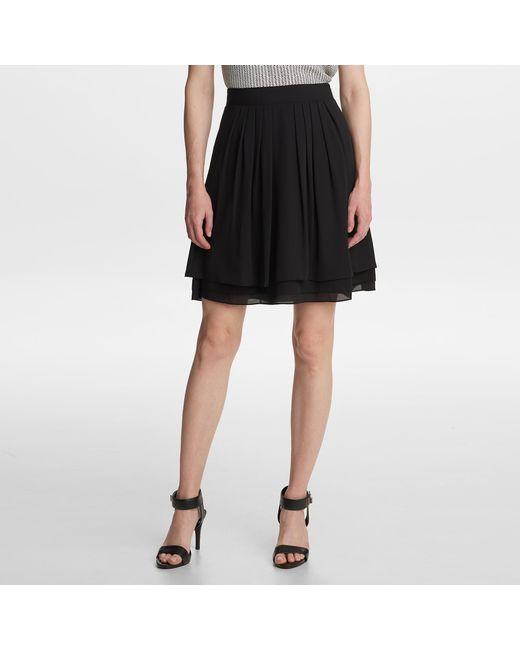 Karl Lagerfeld Black Solid Flare Skirt