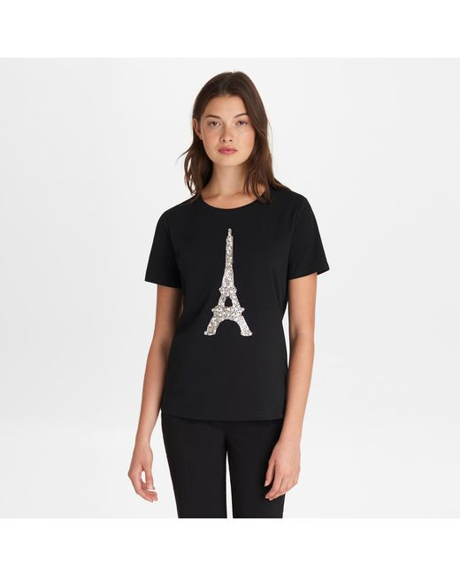 Karl Lagerfeld Black Sequin Eiffel Tower Tee