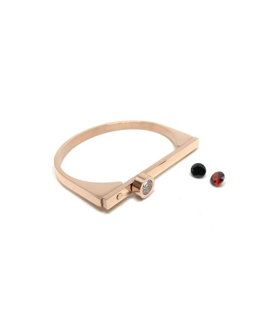 Haste Goods Metallic The Cz Pave Change Cuff In Rose Gold