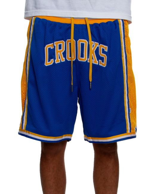 Crooks and Castles Blue Team Arch Shorts In Royal for men