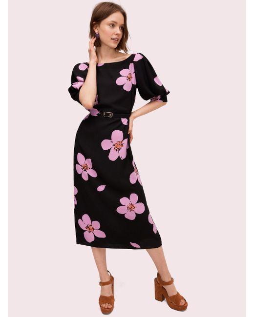 Kate Spade Black Grand Flora Button Back Dress