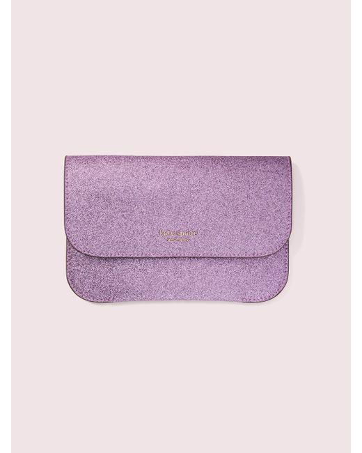 Kate Spade Purple Make It Mine Customizable Camera Bag Glitter Pouch