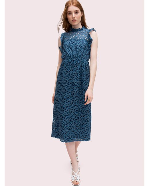 Kate Spade Blue Flora Lace Ruffle Dress