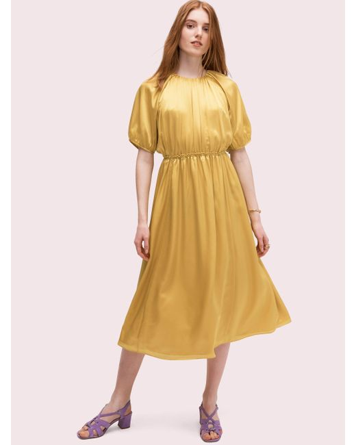 ebbce3772bd3 Kate Spade - Yellow Silk Open-back Midi Dress - Lyst ...