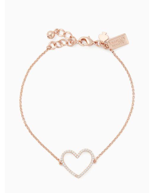 Kate Spade - Multicolor Scrunched Scallops Pave Heart Bracelet - Lyst