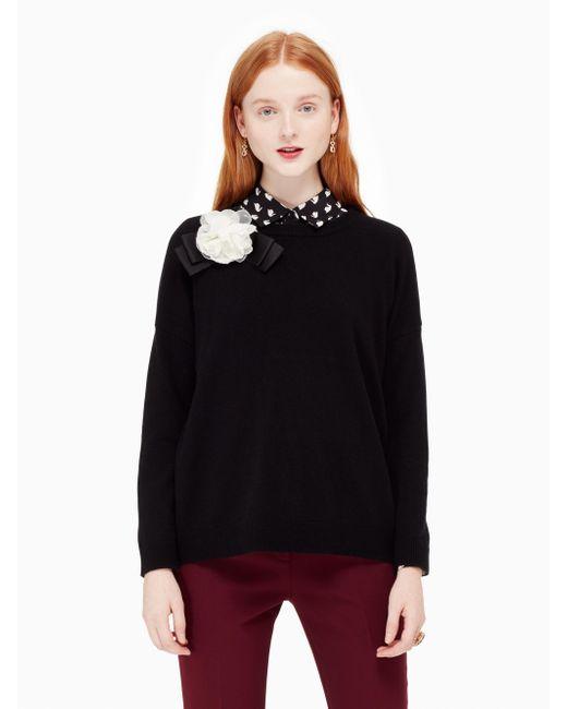 Kate Spade | Black Rosette Bow Sweater | Lyst