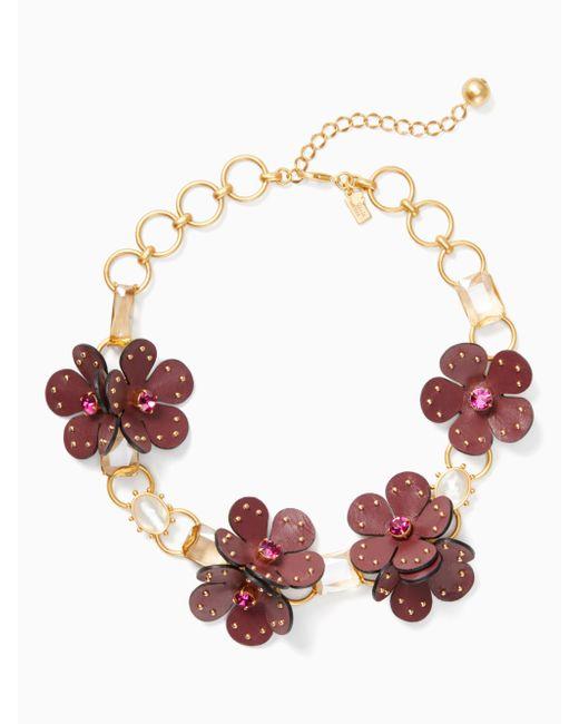 Kate Spade - Multicolor Blooming Bling Auffällige Halskette Mit Leder - Lyst