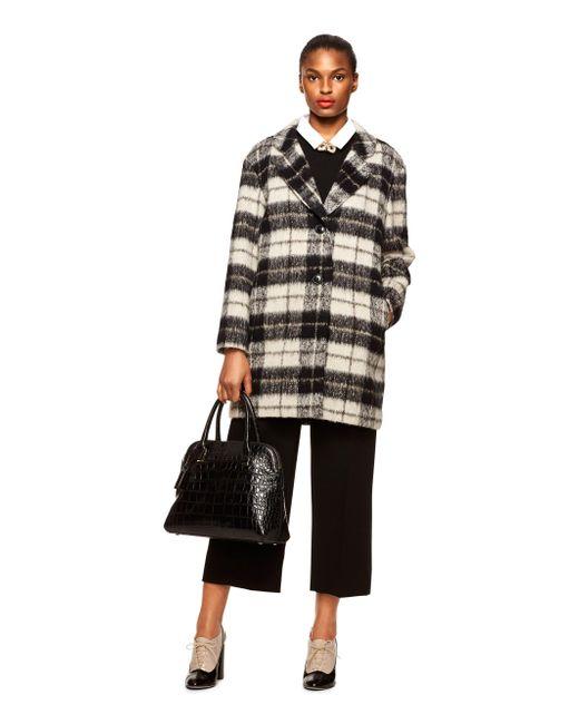 Kate Spade   Black Woodland Check Bow Coat   Lyst