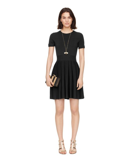 kate spade new york pleated skirt sweater dress in black