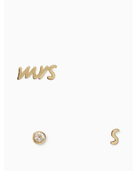 Kate Spade | Multicolor Save The Date Mrs. Initial Stud Set | Lyst