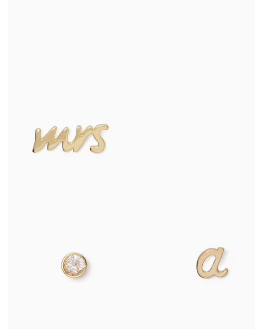 Kate Spade Multicolor Save The Date Mrs. Initial Stud Set