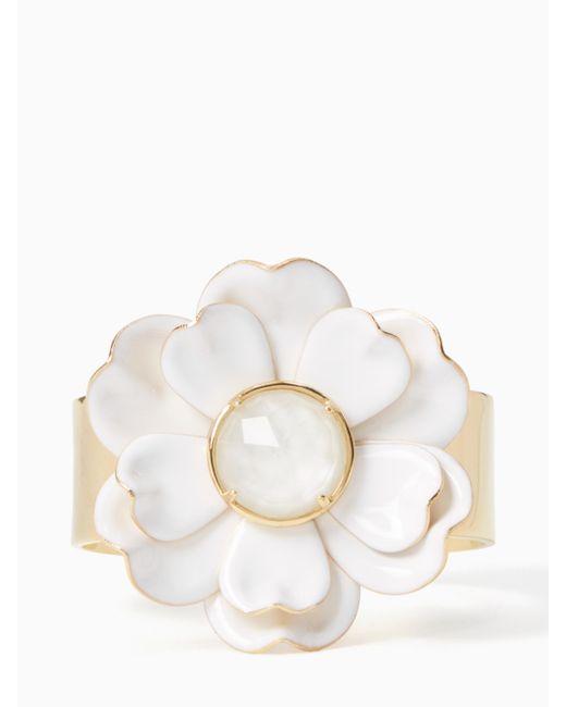 Kate Spade | White Bright Blossom Flower Cuff | Lyst